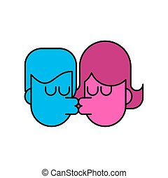 szerelmes pár, szeret, isolated., indulat, csókol, csókolózás, pasas, leány