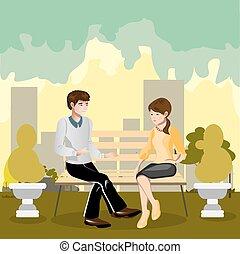 szerető párosít, bírói szék, liget, ülés