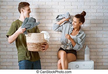szerető párosít, mosoda