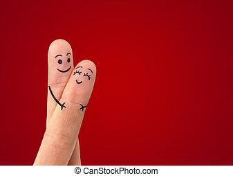 szeret, összekapcsol dédelget, boldog, smiley, festett