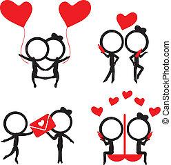 szeret, alak, részlet, párosít, körvonal, bot, piros