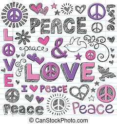 szeret, &, béke, sketchy, vektor, doodles