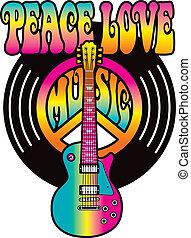 szeret, béke, zene, vinyl