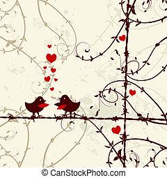 szeret, elágazik, csókolózás, madarak