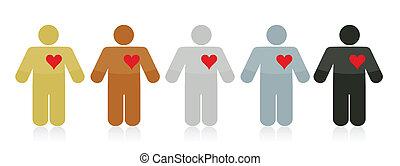 szeret, emberek, ábra, változatosság