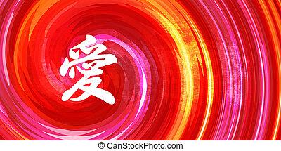 szeret, kínai, jelkép