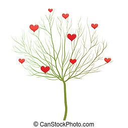 szeret, kedves, fa, vektor, tervezés, nap