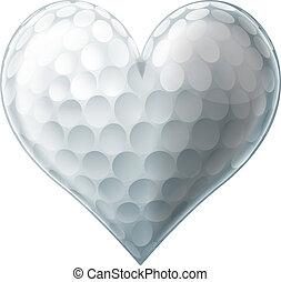 szeret, labda, golf, szív