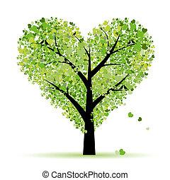 szeret, levél növényen, fa, piros, kedves