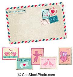 szeret, levelezőlap, szüret, -, szeret, topog, vektor, levél, esküvő, valentines