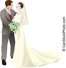 szeret, lovász, ábra, esküvő, vektor, menyasszony