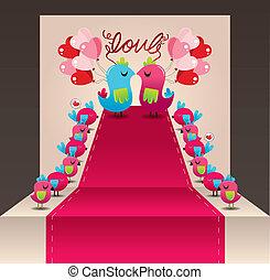 szeret madár, kártya, esküvő