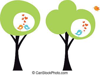 szeret madár, vektor, fa