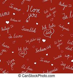 szeret, motívum, seamless, nyelvek, különféle, szöveg, ön