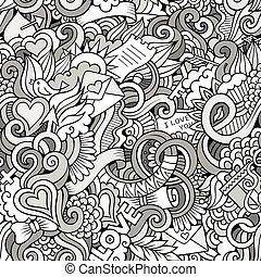 szeret, motívum, seamless, sketchy, vektor, doodles