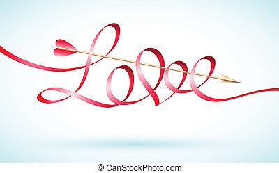szeret, nyíl, szalag, szó