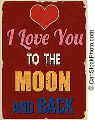 szeret, poszter, valentines, hát, hold, retro, árajánlatot tesz, ön, day), (romantic