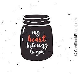 szeret szív, árajánlatot tesz, bögre, kőműves, fekete, chalkboard