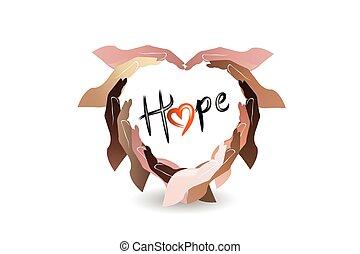 szeret, szöveg, szív, jel, remény, kézi munka, vektor, alakít, kézbesít