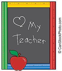 szeret, tábla, tanár, az enyém, vonalzó