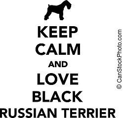szeret, tart, fekete, csendes, orosz, terrier