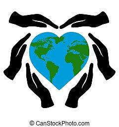 szeret, transzparens, földdel feltölt, világ, vektor, törődik, elszigetelt, környezet, fehér, birtok, nature., heart-shaped, ábra, respektál, kézbesít, fekete, day., bolygó