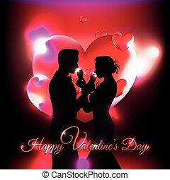 szeret, valentine's, összekapcsol ünnepel, háttér, piros, árnykép, nap, 3