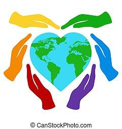 szeret, világ, elszigetelt, birtok, respektál, bolygó, transzparens, földdel feltölt, környezet, fehér, nature., ábra, heart-shaped, kézbesít, day., törődik, vektor, szín, szivárvány
