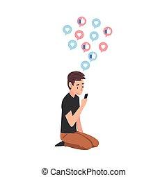 szerkentyű, smartphone, emelet, ábra, használ, fiú, vagy, ülés, csatlakozó, pasas, vektor, tizenéves, szörfözás, internet