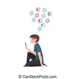 szerkentyű, tizenéves, smartphone, ábra, emelet, használ, fiú, vagy, ülés, csatlakozó, vektor, szörfözás, internet