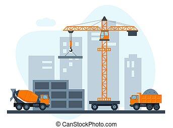 szerkesztés, épület, házhely., city., épület
