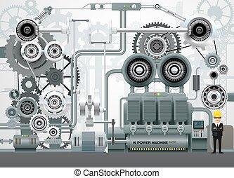 szerkesztés, mérnök-tudomány, felszerelés, vektor, gyár, ipari, ábra, gépezet