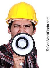 szerkesztés, strike., munkás, hívás