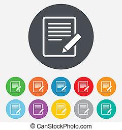 szerkeszt, button., aláír, befogadóképesség, icon., dokumentum