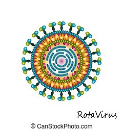 szerkezet, színpompás, rota, elszigetelt, részecske, vírus