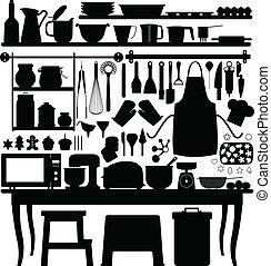 szerszám, sülő, cukrászsütemény, konyha