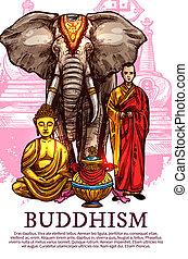 szerzetes, váza, buddha, elefánt
