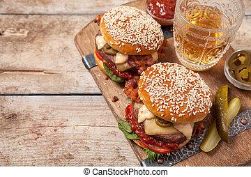 szezám, zsemle, két, cheeseburgers