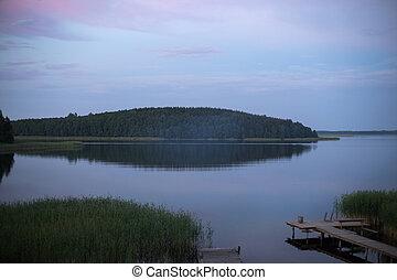sziget, felett, tó, napkelte