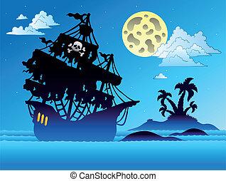 sziget, hajó, árnykép, kalóz
