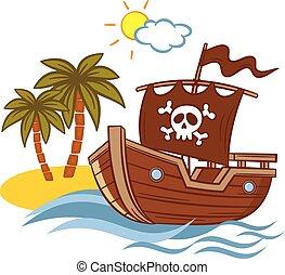 sziget, hajó, dezertál, kalóz