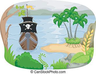 sziget, hajó, kalóz