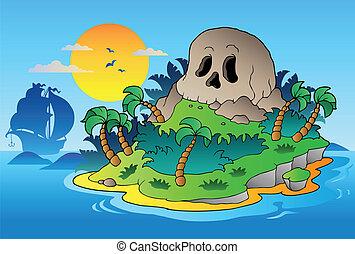 sziget, hajó, kalóz, koponya