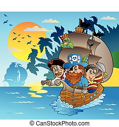 sziget, kalózkodik, csónakázik, három