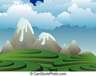 sziget, karikatúra, vulkán