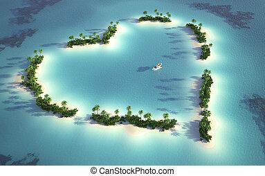 sziget, kilátás, antenna, heart-shaped