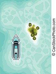 sziget, tető, cirkálás, paradicsom, nézet., hajó