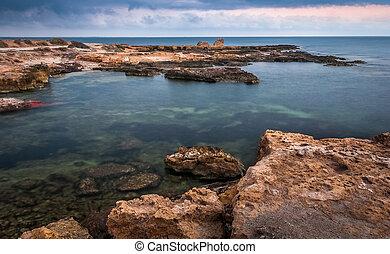 sziklás, reggel, tengerpart