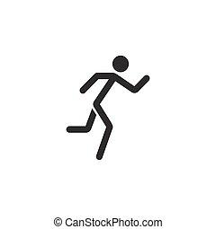 szilárd, gyorsan, futás, állóképesség, ikon, sport, ember