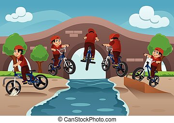 szivárog, bicikli, gyerekek